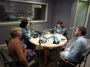 Grace oin the studio chtting with Anne, Darren and a fast-moving Margaret
